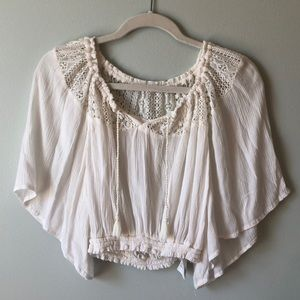 Hollister Cream Flowy Top